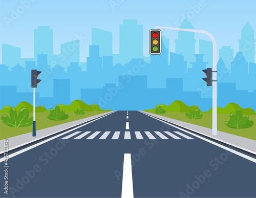 Obraz city with traffic lights - fototapety do salonu