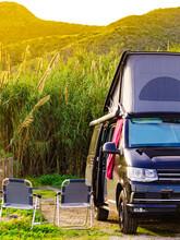 Camper Van With Roof Top Tent Camp On Nature