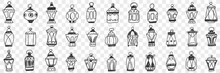 Decorations Lamps And Shades Doodle Set. Collection Of Hand Drawn Decorative Elegant Vintage Shades With Lamps For Light And Carrying In Hand Isolated On Transparent Background
