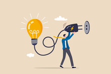 Problem Solving Idea, Invent New Innovation Or Thinking About New Business Idea Concept, Smart Leader Businessman Connect Electricity To Light Up Idea Lightbulb Lamp.