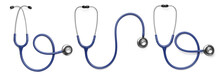 Set With Stethoscopes On White Background, Top View. Banner Design