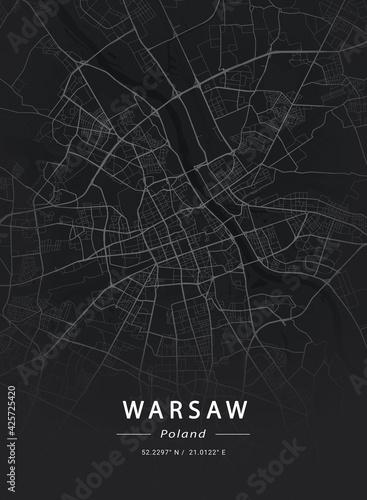Fototapeta Map of Warsaw, Poland obraz