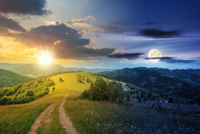 Day And Night Time Change Concept Above Road Through Meadow In Mountains. Beautiful Rural Landscape Of Carpathians With Sun And Moon. Wonderful Summer Weather With Fluffy Clouds On The Sky