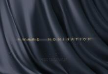 Awarding The Nomination Ceremony Luxury Black Wavy Background With Golden Glitter Sparkles. Vector Background