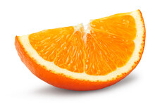 Cut Of Orange Isolated On White Background. Clipping Path