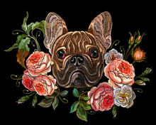 Bulldog Head And Roses Flowers. Classical Embroidery. Fashion Animals. Template For Clothes, Textiles And T-shirt