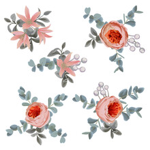 Collection Decorative Design Of Flowers And Leaves