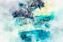 Watercolor, Sealife, Dolphin Jump Out Of The Water In Pool