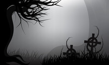 Loneliness And Scary Of Dark Forest Thorns Covered Tombstones On Graveyard