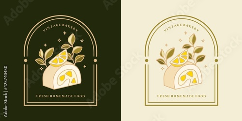 Hand drawn vintage lemon cake, pastry, bakery logo element with frame Fototapet