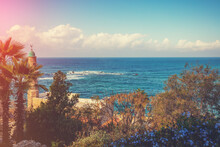 View Of The Sea And Al Bahr Mosque From The Hill In Tel Aviv-Jaffa, Israel