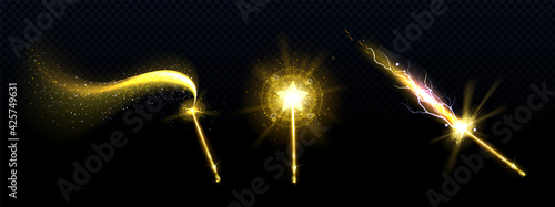 Fotografie, Tablou Gold magic wand with star and spell sparkles isolated on transparent background