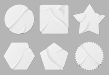 White Stickers Or Patches Mockup. Blank Shrunken Labels Of Different Shapes Round, Square, Star, Pentahedron And Hexahedron Or Notched Circle Wrinkled Paper Emblems, Realistic 3d Vector Icons Set