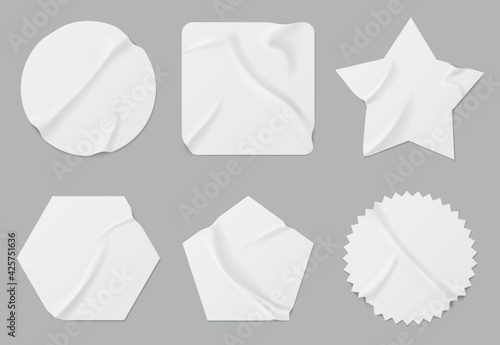 Fototapeta White stickers or patches mockup. Blank shrunken labels of different shapes round, square, star, pentahedron and hexahedron or notched circle wrinkled paper emblems, Realistic 3d vector icons set obraz