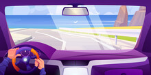 Sea Beach View From Car Interior Through Windshield. Vehicle Salon Inside With Hands On Steering Wheel And Dashboard. Vector Cartoon Landscape Of Highway, Ocean Shore, Mountains And Seagulls