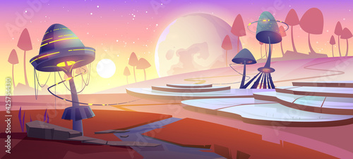 Fantasy landscape with magic glowing mushrooms and plants at sunset. Vector cartoon illustration of fantastic alien nature with giant toadstools, broom, sun and planet in sky