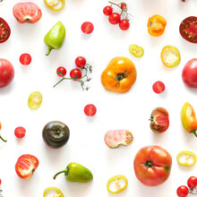 Tomatoes And Other Vegetables Isolated On White Background, Seamless Pattern