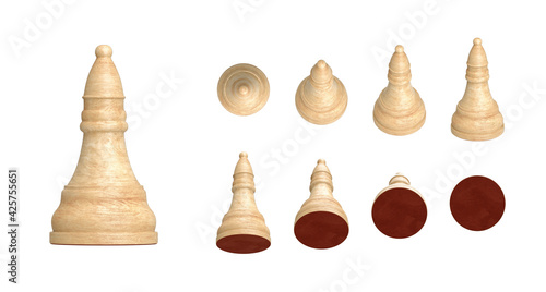 Fotografija Set of white wooden bishop chess pieces in 9 angled views isolated on white background