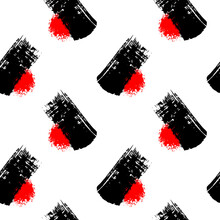 Minimalistic Seamless Pattern With Black Brush Strokes And Round Rough Splashes Isolated On White Background. Abstract Ink Grunge Texture. Japanese Style Vector Wallpaper.