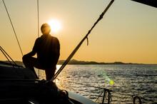 Backlight Silhouette Portrait On The Sailboat In Croatia