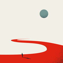Business Path, Road Vector Concept. Symbol Of Planning, Strategy, Future And Ambition. Minimal Illustration