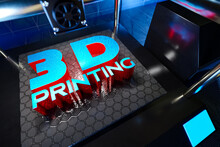 3d Rendering Of Automatic Three-dimension 3d Printer Printing And Typography Object 3D Printing Word From Hot Molten Plastics.