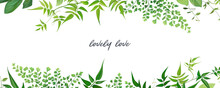 Tropical Forest Greenery Leaves, Branches, Jasmine Vine, Forest Fern, Herbs Natural Border, Frame, Banner. Vector, Editable, Watercolor Art Illustration. Poster, Wedding Invite, Greeting Card Template