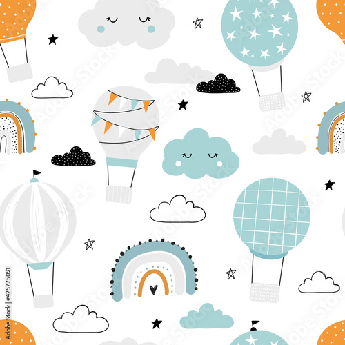 Vector hand-drawn seamless repeating children simple pattern with air balloons, clouds and rainbows in Scandinavian style on a white background. Kids pattern with air balloons. Funny transport.