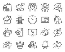 Line Icons Set. Included Icon As Pet Tags, Time, Share Call Signs. Copyright Chat, Organic Tested, Love Couple Symbols. Clock Bell, Employee Hand, Sunny Weather. Seo Laptop, Internet. Vector