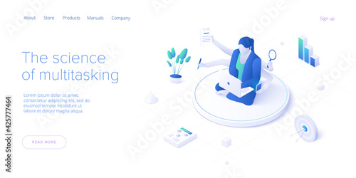 Vászonkép Multitasking female manager concept in isometric vector illustration