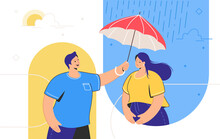 Friendly Support And Mental Aid For Distance Relationships. Young Man Holding Red Umbrella And Helping His Female Friend To Cope Stress Or Depression. Friend Support And Remote Psychological Help