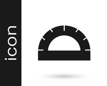Black Protractor Grid For Measuring Degrees Icon Isolated On White Background. Tilt Angle Meter. Measuring Tool. Geometric Symbol. Vector