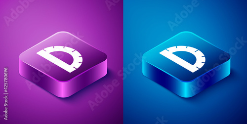Obraz na plátne Isometric Protractor grid for measuring degrees icon isolated on blue and purple background