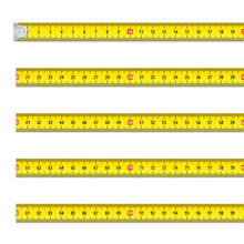 Collection Realistic Measurement Tape Vector Yellow Meter Centimeter Straight Line With Scale