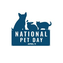 National Pet Day Banner Template. Silhouette Illustration Of Dog, Cat, Rabbit, And Butterfly. Usable For Social Media Post, Card, Banner, And Website.