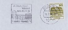 Briefmarke Stamp Gestempelt Used Frankiert Cancel Vintage Retro Alt Old Slogan Werbung Nimes France Volksfest Berlin Französisch 1986 Schloss Wilhelmsthal 80 Papier Paper Grün Green