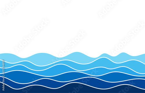 Obraz na płótnie Blue water wave line flowing sea pattern background banner vector