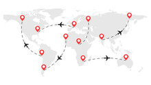 Airplane Routes On The World Map. Flight From One Point To Another. Airline Concept. Vector Illustration