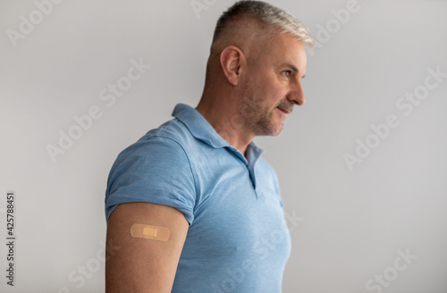 Fototapeta I vaccinated. Immunization approving for health protection during covid-19 quarantine, prevent ill obraz na płótnie