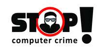 Computer Crime. A Hacker Using Computers, For Stealing Data. Online Ransomware Or Malware To Steal Personal Data From Computer Concept, Criminal Thief. Computer Hacker, Cyber Security. Vector Sign