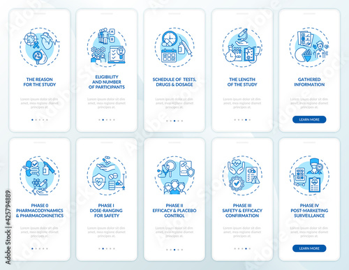Research studies onboarding mobile app page screen with concepts set Wallpaper Mural