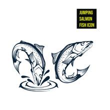 Jumping Salmon Fish Icon - Stock Illustration. Ink Drawing Of A Jumping Salmon Fish.