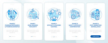 Clinical Examination Phases Onboarding Mobile App Page Screen With Concepts. Dosage, Efficiency Walkthrough 5 Steps Graphic Instructions. UI, UX, GUI Vector Template With Linear Color Illustrations