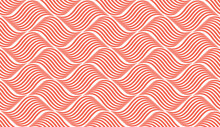 The Geometric Pattern With Wavy Lines. Seamless Vector Background. White And Pink Texture. Simple Lattice Graphic Design
