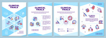 Clinical Trials Brochure Template. New Medicine, Therapy Testing. Flyer, Booklet, Leaflet Print, Cover Design With Linear Icons. Vector Layouts For Presentation, Annual Reports, Advertisement Pages