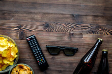 Snacks For Watching TV On Wooden Background Top View Mock-up