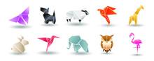 Origami Paper Animals Asian Creative Vector Art. Origami Japan Animal Butterfly, Dog Terrier, Elephant, Owl, Sheep, Bird And Giraffe Illustration
