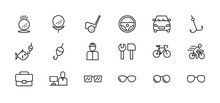 Thin Line Web Icon Set For Work And Leisure. Simple Vector Illustration Of Golf, Car, Fishing, Cycling, Glasses, Work.