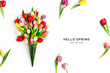 Creative composition of beautiful tulip flowers. Hello spring concept