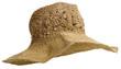 chapéu de palha de senhora rústico com aba em fundo branco